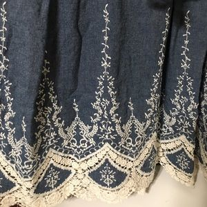 Dress Barn Dresses - Denim and Lace Dress